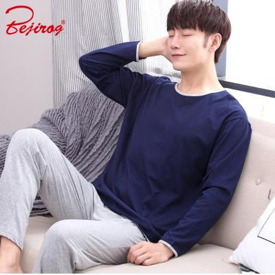 Bejirog pyjama men pajama set knited keep warm clothing sleep clothes long sleeve sleepwear for male undershirt in autumn winter-ivroe