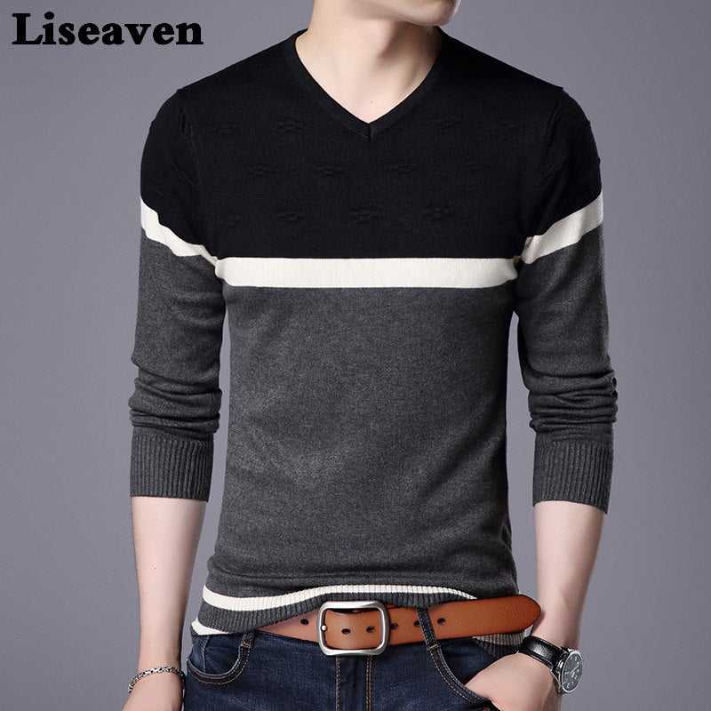 Liseaven Men Pullover Sweater V Neck Casual Slim Fit Sweaters Long Sleeve Pullover Tops-ivroe