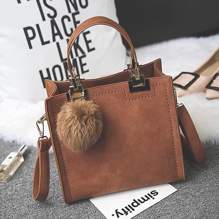 Yogodlns Hot sale handbag women casual tote bag female shoulder messenger bags PU leather handbag with fur ball bolsa-ivroe