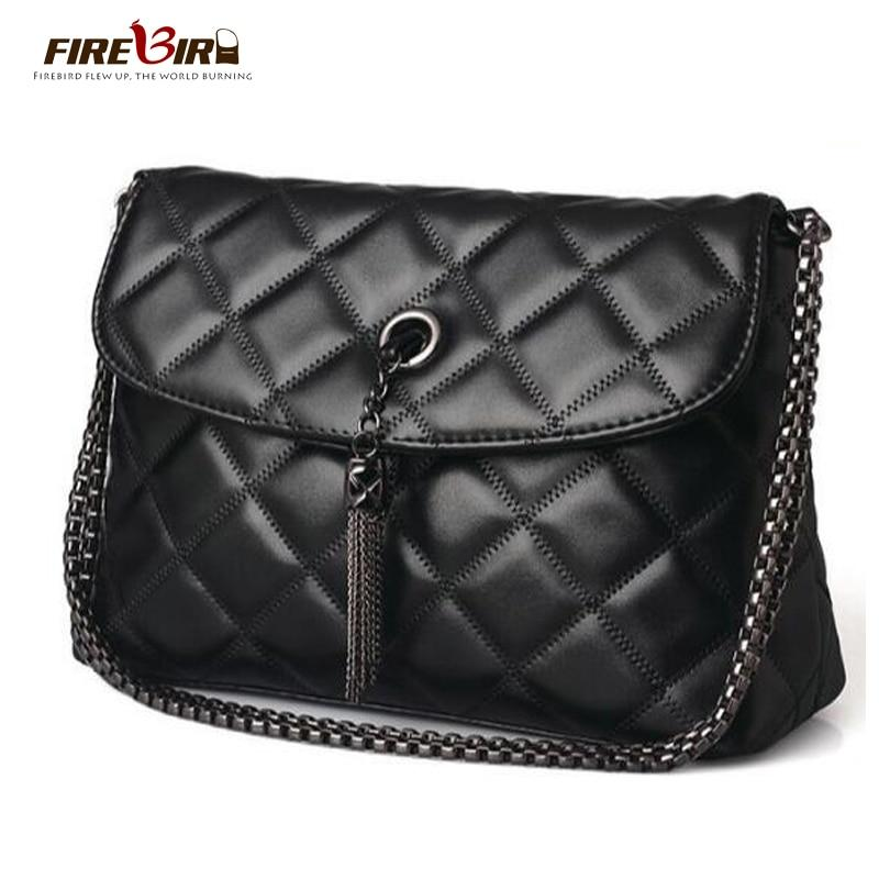 Plaid Small Fringe Embroidery Clutches Women Crossbody Black Bag Quilted Flap Shoulder Bag Women Messenger Chain Tassel Bag FN25-ivroe
