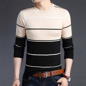 Mwxsd Casual Men's winter O-Neck Striped pullover Sweaters Slim Fit Knitting Mens cotton Sweaters High Quality male Pullovers-ivroe