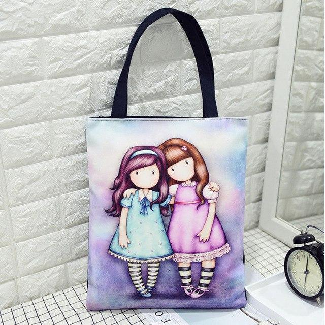 Fashion Casual Character Women's Shoulder Bag Girl's Lovely Cartoon Printing Handbag Quality Canvas Shopping Bag Wholesale-ivroe