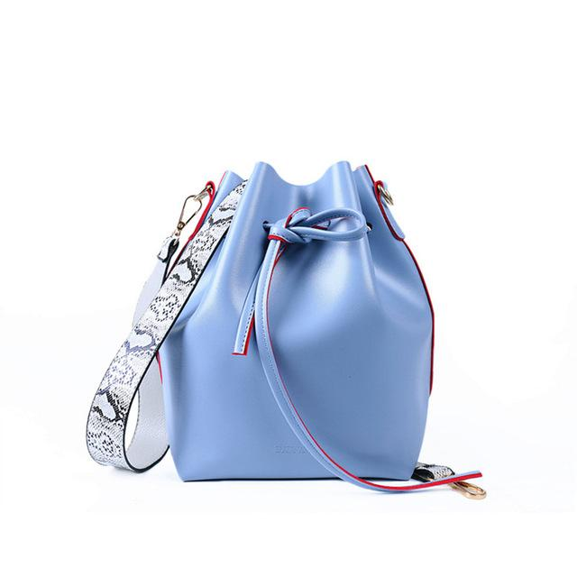 DAUNAVIA brand Women Bag famous desinger PU leather bucket bag exquisite serpentine shoulder strap shoulder bag Messenger bag-ivroe
