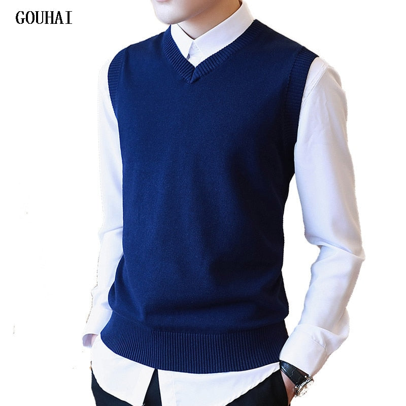 Sweater Men 100% Cotton Solid V Neck Casual Male Sweater Vest Men Pullover Knitted Sleeveless Men Sweater Christmas M-3XL-ivroe