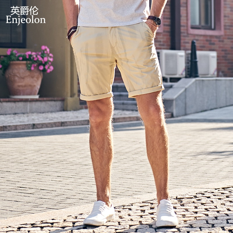 Enjeolon brand top 2018 Summer New Casual Shorts Men Cotton Sim solid white khaki Available Knee length High Quality K6097-ivroe