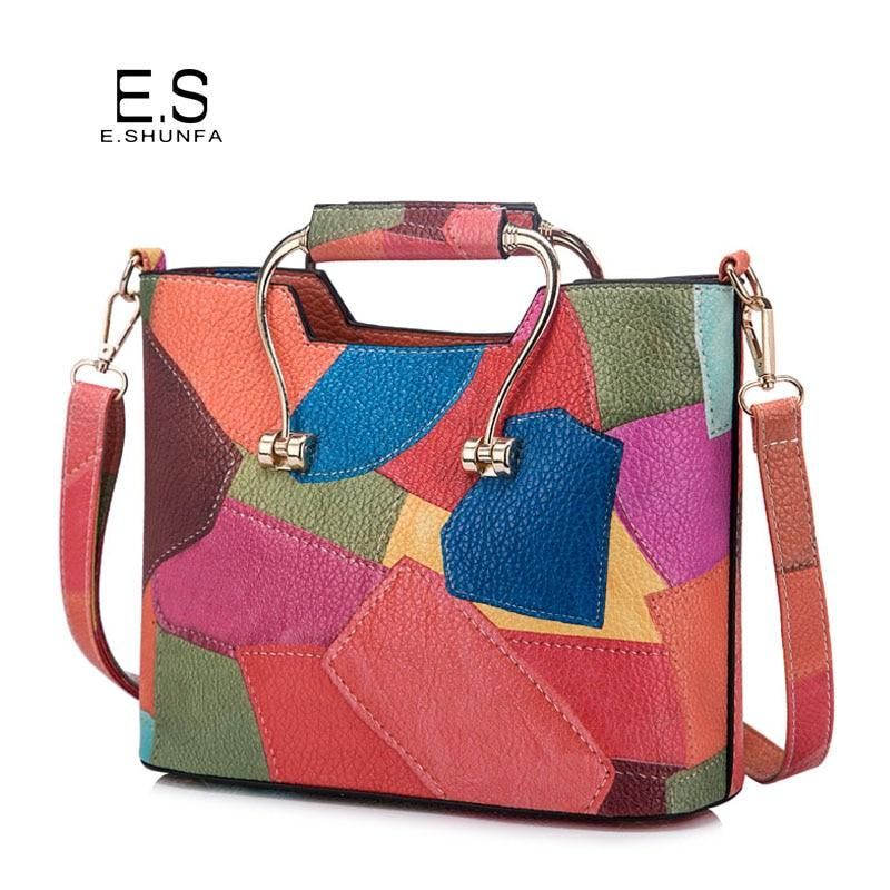 Patchwork Shoulder Bags Womens 2018 New Fashion Casual PU Leather Shoulder Bag Flap Colorful Small Crossbody Bags For Women-ivroe