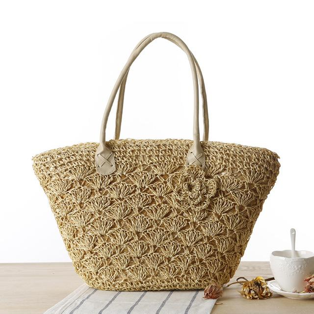 MISS YING 2017 Summer Beach Bag Women Handmade Woven Straw Shell Hook Flower Shoulder Bag Female High Quality Traveling Tote Bag-ivroe