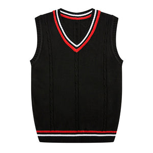 Autumn Winter 2018 New Men's Fashion Fine Pure Color Business Leisure Vest Sleeveless Sweater Male Casual Preppy Style Sweater-ivroe