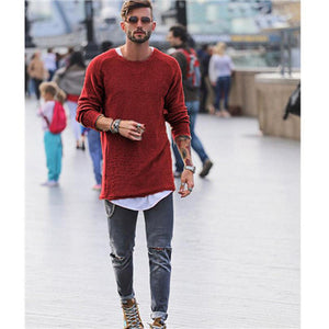 Casual Men's Sweater solid color Long sleeve Pull Crewneck Jumpers Knitwear long jumpers Spring oversized Youth longline tops-ivroe