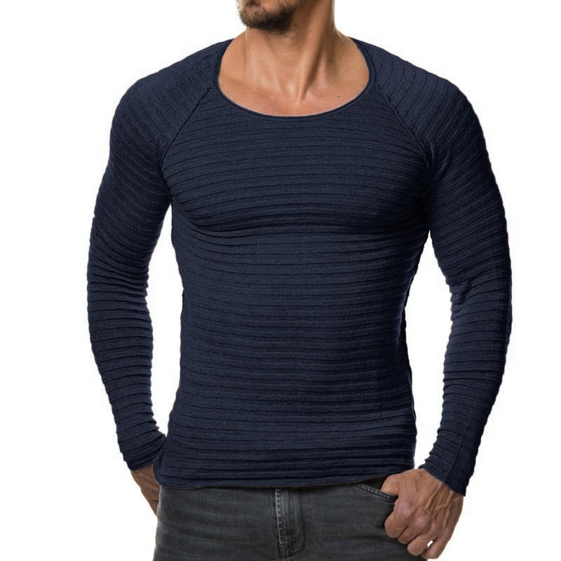 Sweater Pullover Men 2018 Male Brand Casual Slim Sweaters Men Soild Color Vertical Stripes Hedging O-Neck Men'S Sweater XXXL-ivroe
