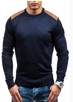 WSGYJ Sweater Pullover Men 2018 Male Brand Casual Slim Sweaters Men Suede Patch Hedging O-Neck Men'S Sweater XXL-ivroe