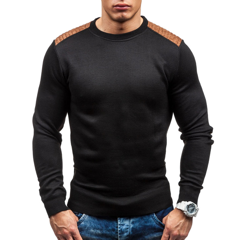 Sweater Pullover Men 2018 Male Brand Casual Slim Sweaters Men Suede Patch Hedging O-Neck Men'S Sweater-ivroe