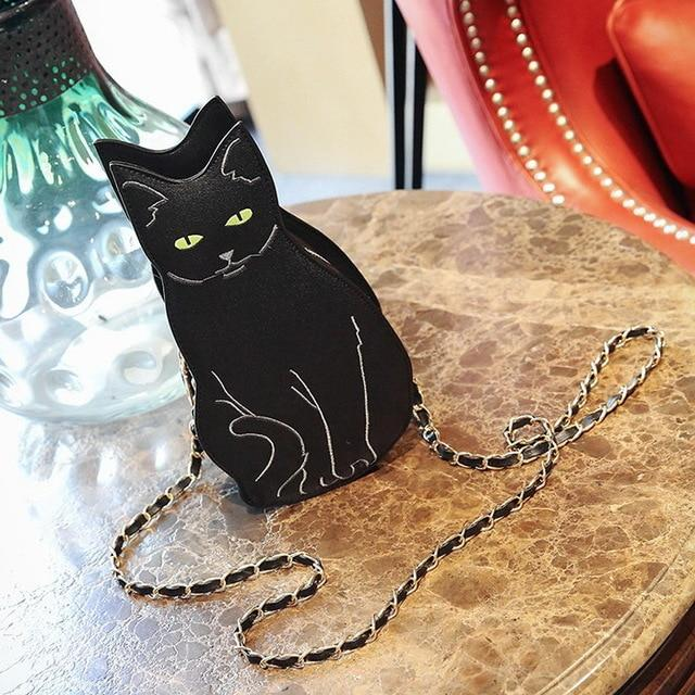 DIINOVIVO Fashion Funny Cat Women's Handbag Unique Animal Female Shoulder Bag Multipurpose Chain Crossbody Purses Bag WHDV0276-ivroe