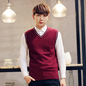 Spring 2018 Men's Fashion Boutique Pure Color Leisure V-neck Sleeveless Sweater Male Slim Business Casual Knitting Sweater Vest-ivroe