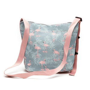 TTOU New Pink Flamingo Printing Shoulder Bags Cartoon Polyester Animal Women Handbag Crossbody Messenger Bag Ladies Beach Bag-ivroe