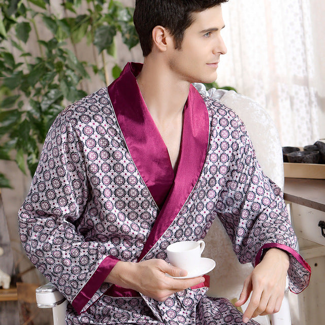 2018 New Spring Autumn Luxury Bathrobe Mens Print Plus Size Silk Satin Pajamas Kimono Summer Male Nightgown Chinese Silk Robe-ivroe