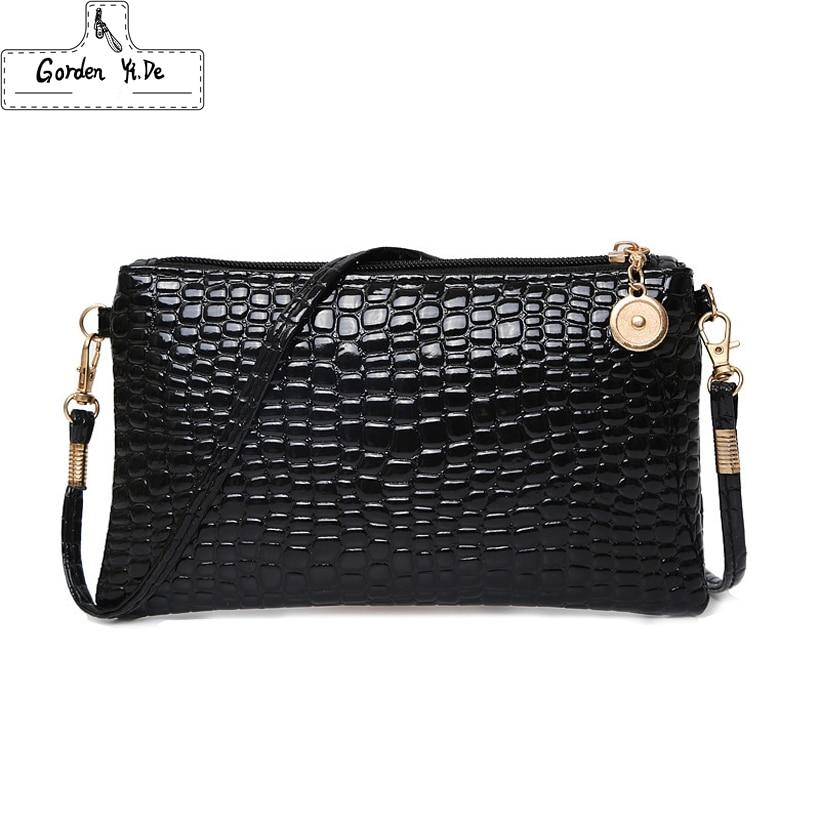2018 Crocodile Pattern Women Messenger Bags Patent Leather Small Crossbody Shoulder Bags Women Evening Bag Casual Mini Phone Bag-ivroe