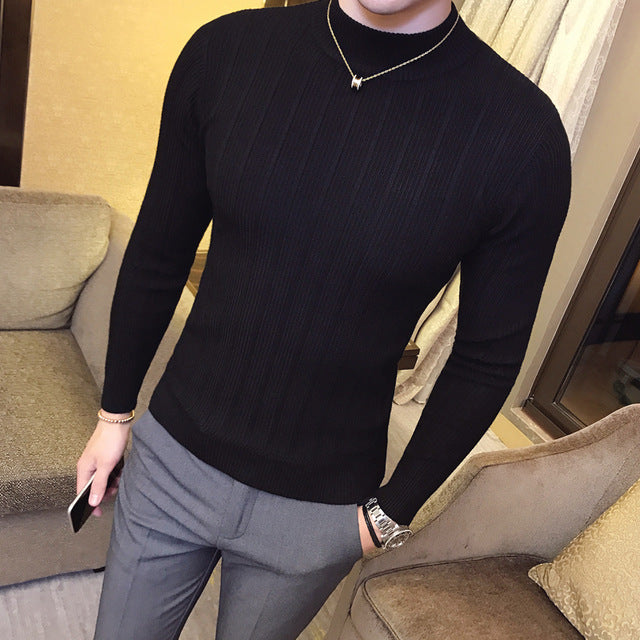 Pullover Men 2017 Male Brand Casual Sweater Men Solid Color Comfortable Mens Christmas Sweater Round Neck Slim Fit pull homme-ivroe