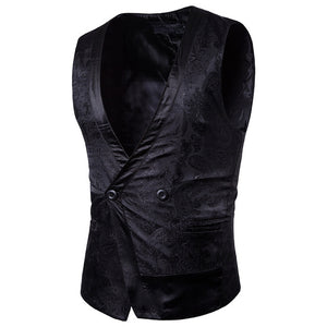 Mens Court Style Casual Vest Suit | 2017 Brand New Male Fashion Single Button Darkstripe Design Sleeveless Waistcoat Plus 2XL-ivroe