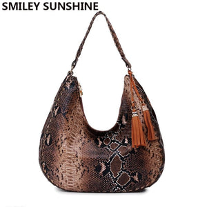 SMILEY SUNSHINE brand new women shoulder bags serpentine leather handbags ladies tote bags female big top-handle bags for women-ivroe