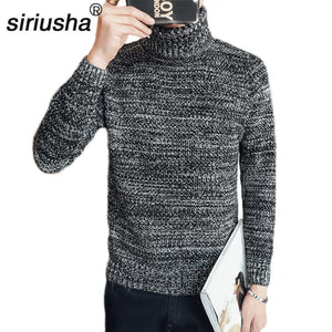 S39 Autumn and Winter Turtleneck Sweater Male Trend Slim Turn-Down Collar Sweater Comfortable Teenage Thickening Basic-ivroe