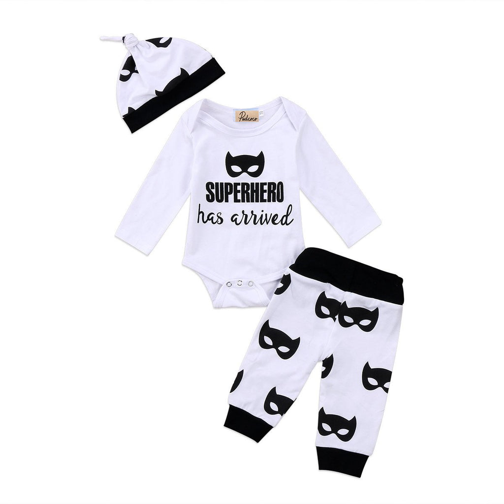 0-18M Newborn Autumn Baby Batman Anime Tops Romper Cartoon Long Pants Hat Outfits Casual Clothes 2018 Set-ivroe
