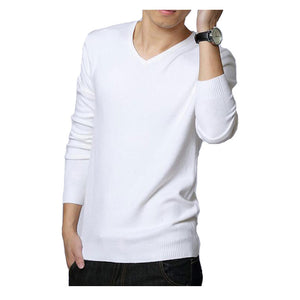 2018 Autumn Winter Mens Sweaters Black/White Jumper Male V-Neck Pullovers Long Sleeve Slim Fit Men Jumpers Solid Knit Pull Man-ivroe