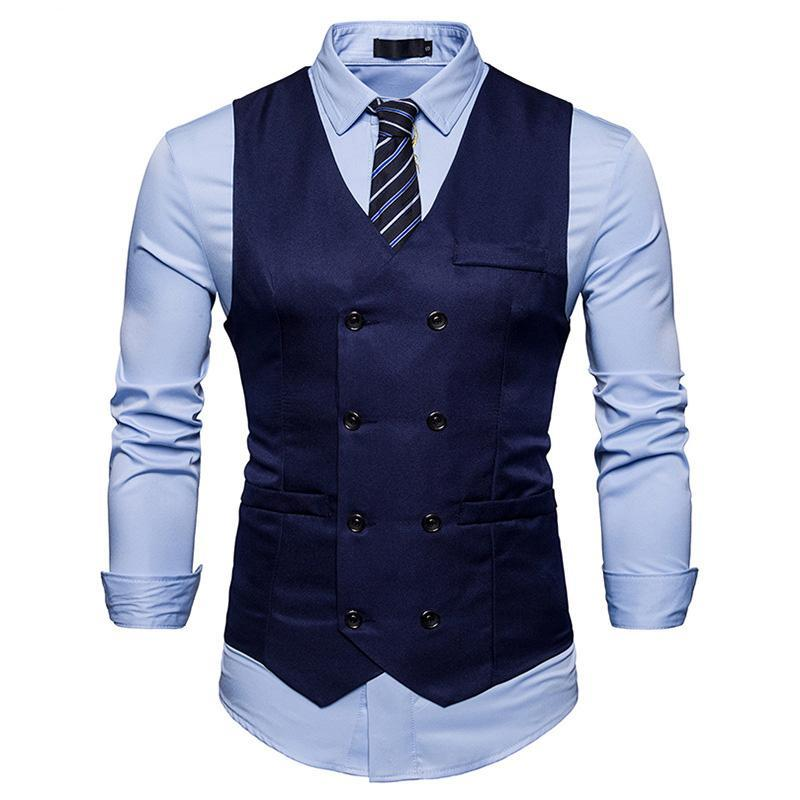 New Mens Clothing Black Grey Slim Cotton Double Breasted Sleeveless Jacket Waistcoat Men Suit Vest Men's Clothing
