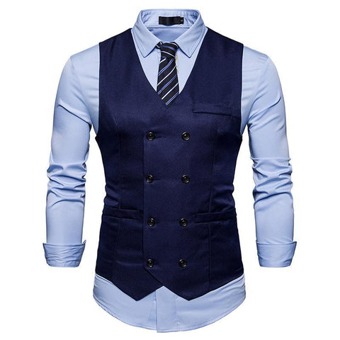 3b68b6f0608 New Double Breasted Suit Vest Men Gilet Homme Costume 2018 Brand Slim Fit  Sleeveless Waistcoat Mens