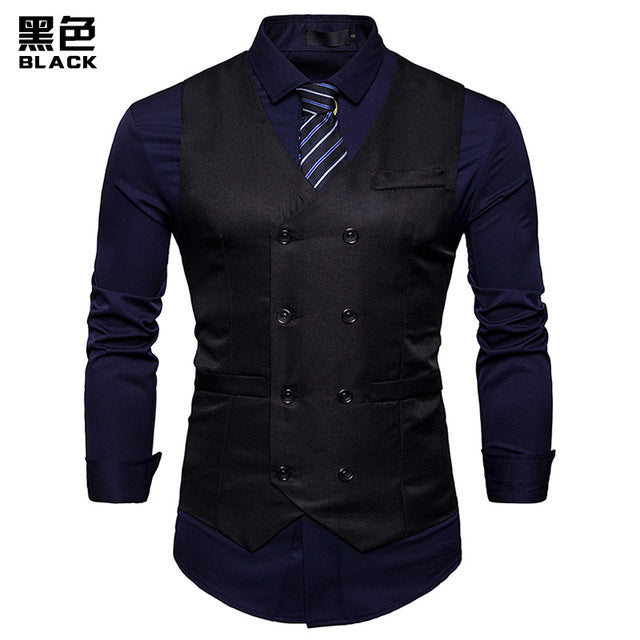 390d9032393 New Double Breasted Suit Vest Men Gilet Homme Costume 2018 Brand Slim Fit  Sleeveless Waistcoat Mens