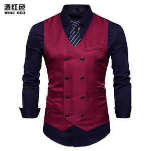 New Double Breasted Suit Vest Men Gilet Homme Costume 2018 Brand Slim Fit Sleeveless Waistcoat Mens Foramal Weeding Dress Vests-ivroe