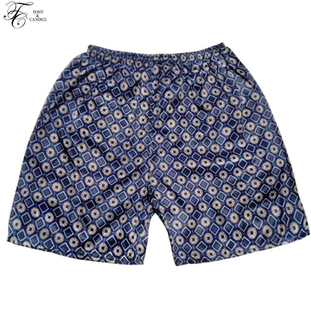Tony&Candice Sleep Bottoms Men Satin Silk Short Men Boxer Sleep Men's Pajamas Bottom Beach Shorts In Summer Print Pattern-ivroe