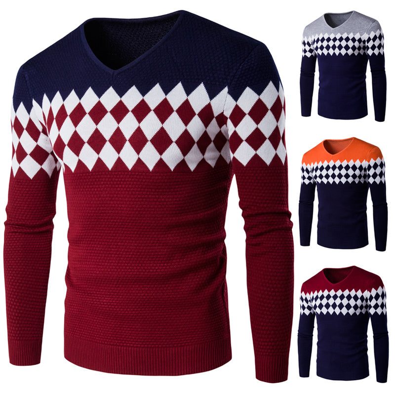 Men V Neck Sweater Long Sleeve Men Shirt Mens Sweaters Casual Men Pullover Cashmere Diamond lattice Pull Homme Fashion Knitwear-ivroe