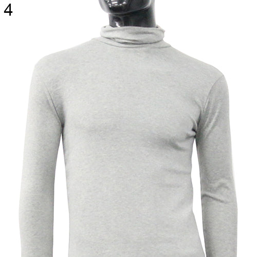 Men Fashion Thermal Turtle Neck Sweater Slim Fit Long Sleeve Stretch Shirt Top-ivroe