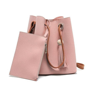 Fashion Women Messenger Bags With Tote Purse Leather Bead Tassel Pendant Ladies Shopping Travel Crossbody Shoulder Bag AB@W-ivroe