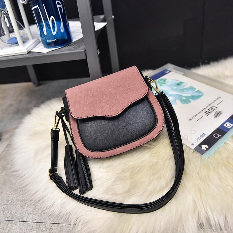 2018 Vintage Women Bag Women Nubuck Leather Messenger Bag Small Crossbody Bags Ladies Tassel Shoulder Bag Bolsa Feminina Free-ivroe