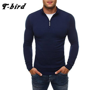T-bird Brand 2017 New Fashion Autumn Casual Sweater Zipper Decoration Slim Fit Knitting Mens Sweaters Pullover 3 colors 0-ivroe