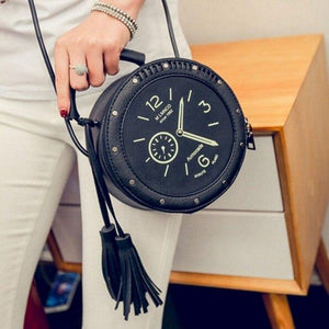 2018 New Women Crossbody Bag Leather Round Summer Clock Shape Shoulder Bag Rivet Watches Tassels Messenger Bag-ivroe