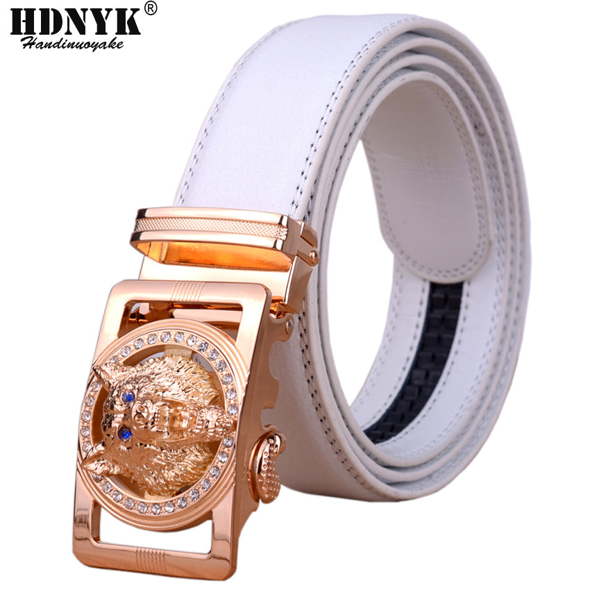2018 Hot New Brand Designer Belts Men High Quality Automatic Belt Men Leather Girdle Casual Waist Strap With Wolf Heah Buckle-ivroe