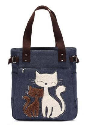2018 Fashion Women's Handbag Cute Cat Tote Bag Lady Canvas Bag Shoulder bag LL61-ivroe
