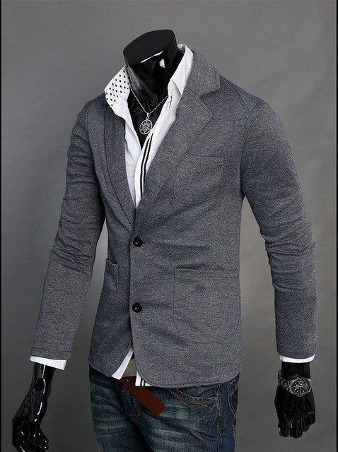 Hot Sale Blazer 2018 New Arrival Autumn Clothing men's Fashion casual Single Row Two Button men Slim terno knitting Suit jacket-ivroe