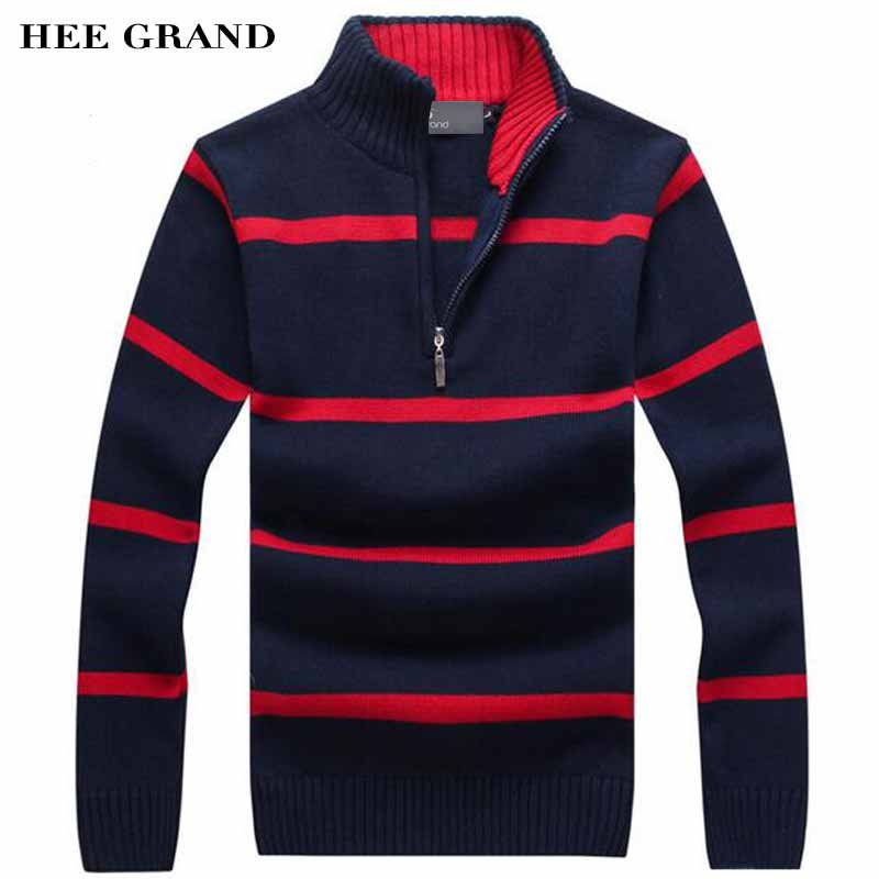 HEE GRAND Men Casual Sweater 2018 New Arrival Stand Collar Striped Thin Wool Autumn Winter Pullovers Plus Size M-3XL MZM504-ivroe