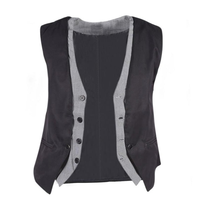 Men's Fashion Fake Two Piece Casual Suit Vest Male Formal Vest Suit Gilet Vest Slim Business Jacket Tops M-XXL-ivroe