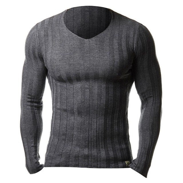 Brand New Men Autumn Slim Fit Sweater Casual Knitted Sweaters V Neck Knitting Fashion Solid Men Pullover Warm Top Plus Size 3XL-ivroe