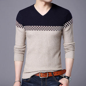 Mwxsd 2018 Winter New Arrivals Thick Warm Sweaters V-Neck Wool Sweater Men Brand-Clothing Knitted Cashmere Pullover Men 66203-ivroe