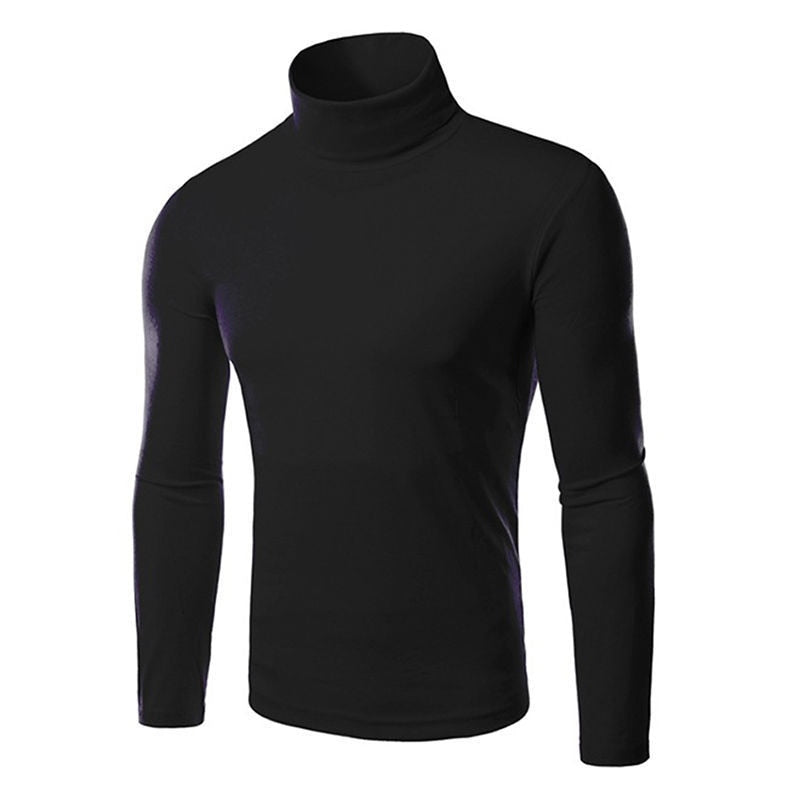 Casual 2017 Men's Thermal High Collar Turtle Neck Skivvy Long Sleeve Sweater Stretch Shirts-ivroe