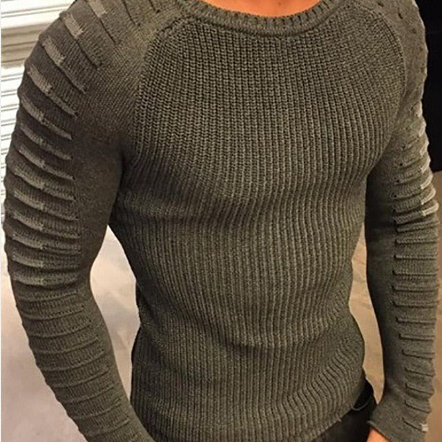 Fashion O-Neck Long Sleeve Knitting Men Sweater Casual Slim Fit Pullover Top-ivroe