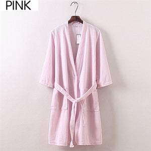 On Sale Men Summer Suck Sweat Elegant Kimono Bath Robe Male Spa Waffle Bathrobe Plus Size Lounge Robes Sexy Mens Dressing Gown-ivroe