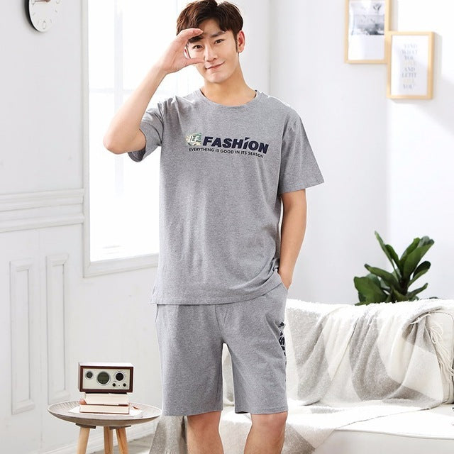New WAVMIT 2018 Men Pajamas Short Sleeve Spring Summer Male Pajama Set Men Pure Full Cotton Pajamas For Men Set Sleepwear Suit-ivroe