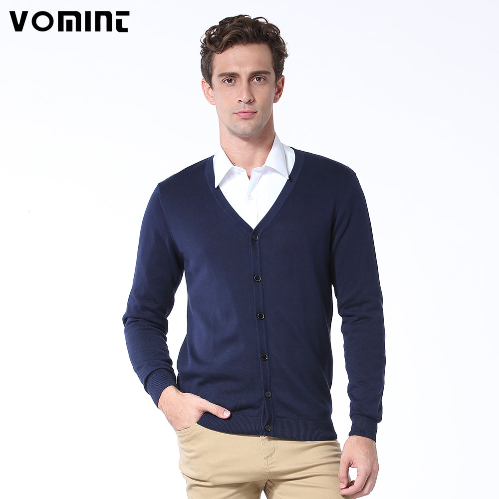 Vomint Spring Basic Mens Cardigans Sweater Solid O-neck Knitted Cotton Fabric All Match Wear Multi Color Regular Fit U6PI6837-ivroe